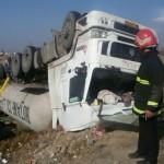 تانکر گاز مایع واژگون شد، حادثه به خیر گذشت